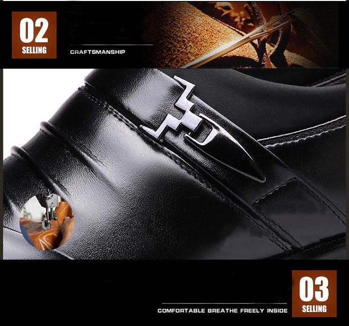Giày tăng chiều cao nam da bò thật TC05 -10